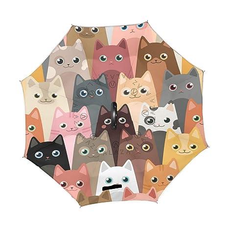 a7c7c13c13a5e Amazon.com : Wamika Cute Kitty Cats Reverse Umbrella Double Layer ...