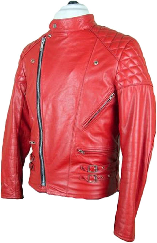 Men Slim Fit Biker Motorcycle Lambskin Leather Jacket Coat Outwear Jackets T1201