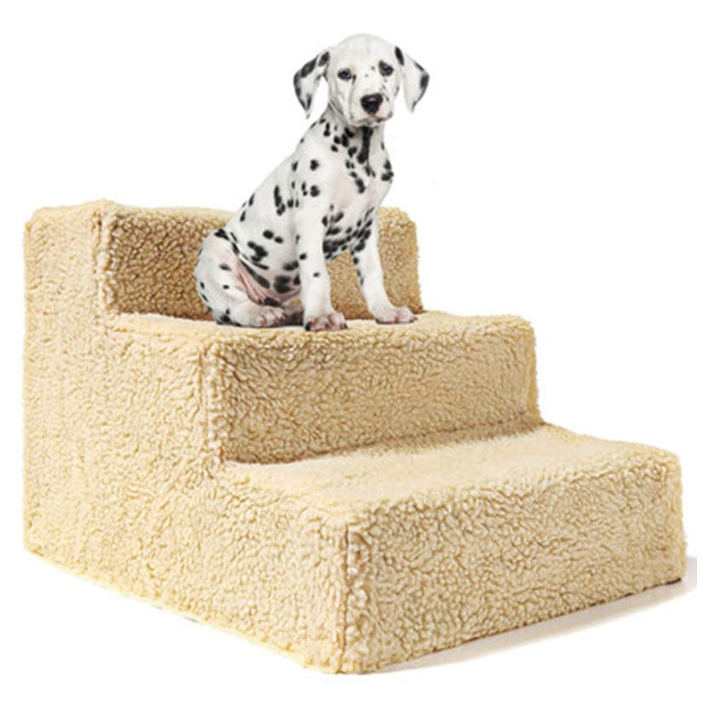 A GYZ Pet Dog Stair Steps Cat And Dog Ladder Stairs Stair Jumping Pet Bed To The Stairs Slope Load Bearing 20KG-beige, White (color   A)