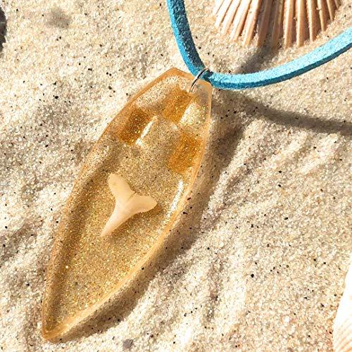 Love's Surf Gems Surfboard Necklace/Choker Sharktooth Surfboard-Beach Jewelry Summer Accessories Surfer Jewelry Resin Jewelry Shark Tooth Necklace (Coronado, - Surf Choker Accessories
