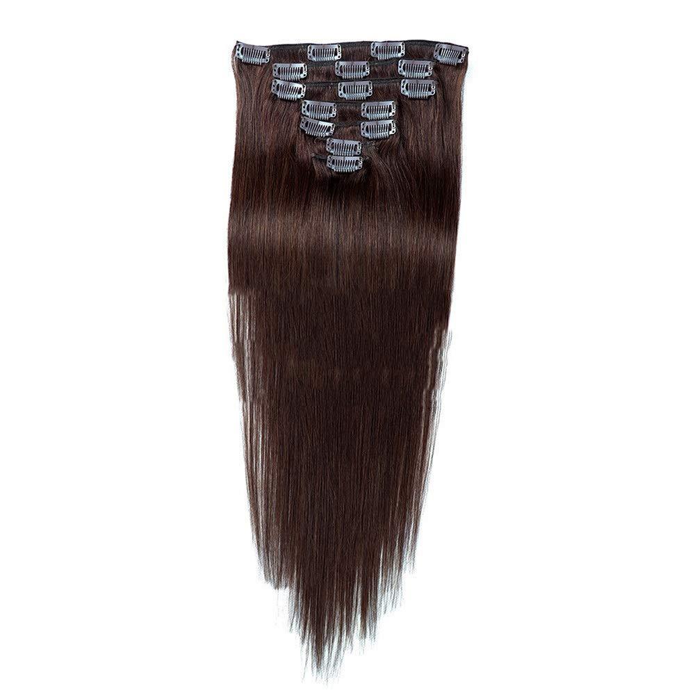 Kathleen Chance 7 Piece Clip In Hair Extensions 22 Inch Full Head - 100% Brazilian Wigs - #2 Dark Brown Straight 100g (Color : #2 Dark Brown)