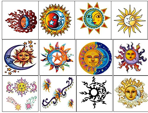 Sun Moon and Stars Collection (Sun and Moon Temporary Tattoos ...)