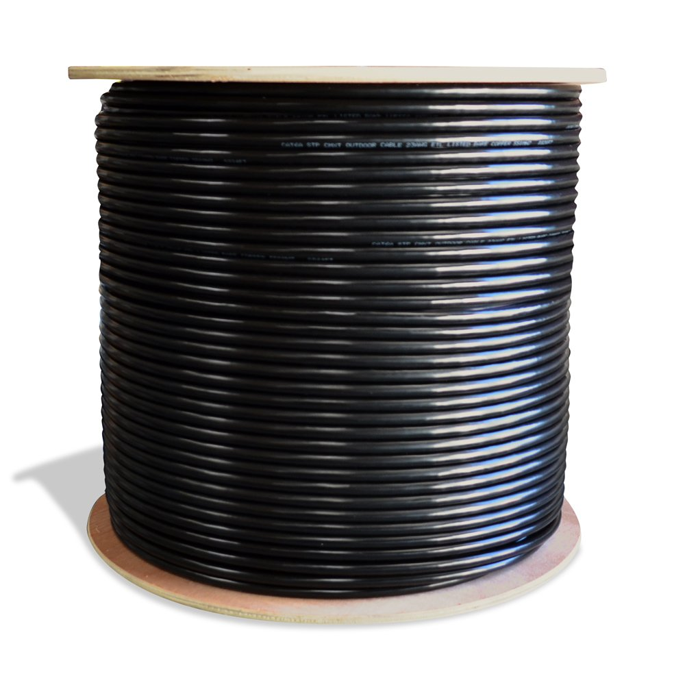 Dripstone Direct Burial 1000ft CAT6A STP Shielded Wire with Double Jacket and Pure Copper Conductors 23AWG CMXT Ethernet Cable Waterproof Wire Passes Fluke Test