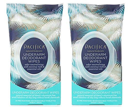 Pacifica Underarm Deodorant Wipes - Coconut Milk & ESSENTIAL OILS (30 Count) (2 PACK)