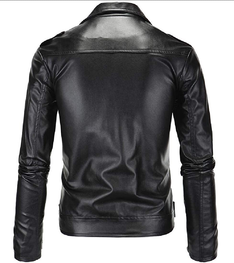 ONTBYB Mens Trucker Stylish Slim Fit Motorcycle Oblique Zip Faux-Leather PU Jackets