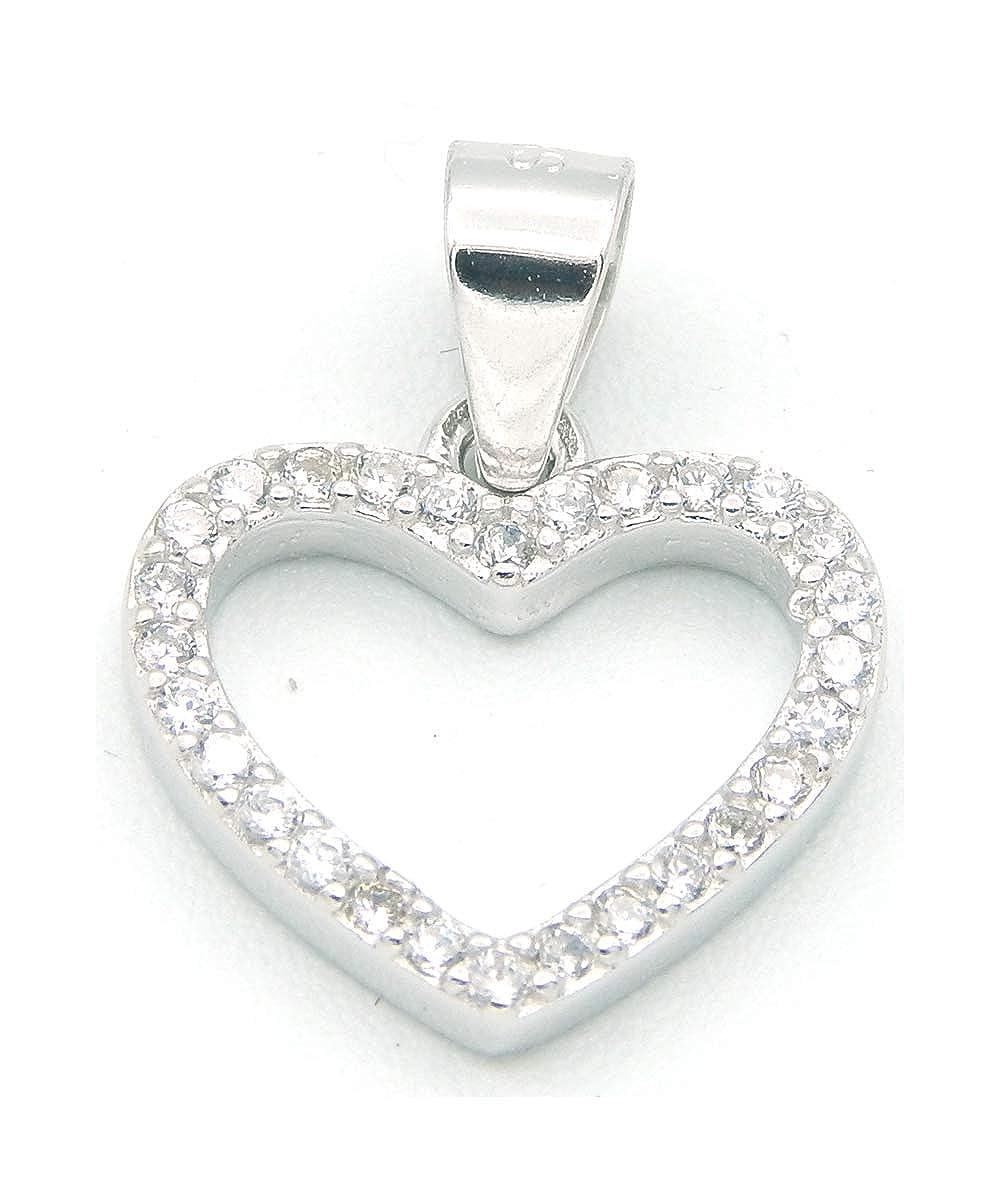 brillare - Mädchen Damen Kettenanhänger Herz mit Zirkonia - 925 Silber rhodiniert – Anhänger Herz Khalsa Brothers 92001