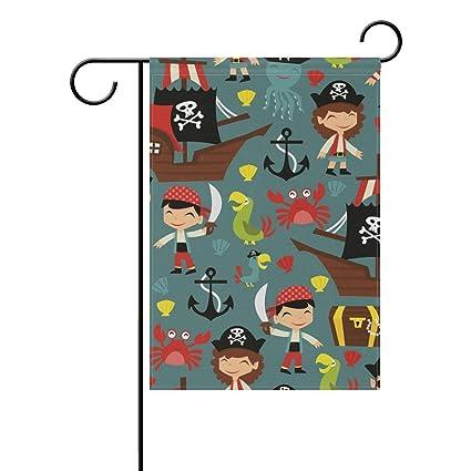Amazon.com: Bandera de jardín retro pirata aventura sin ...
