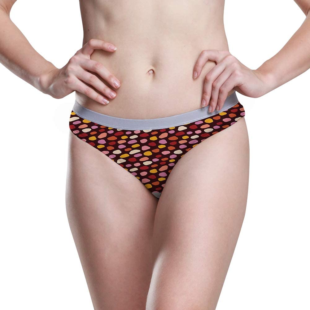 Pattern with Colorful Deformed Spot Shapes in Asymmetric Irregular Order Print,5 Size Womens Hipster Panties