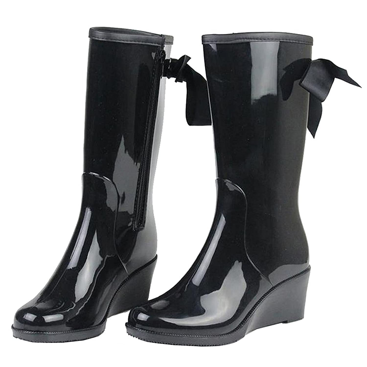 Retro Boots, Granny Boots, 70s Boots Getmorebeauty Womens Black Belt Mid Calf Rain Boots Rubber Waterproof Wedges $39.50 AT vintagedancer.com