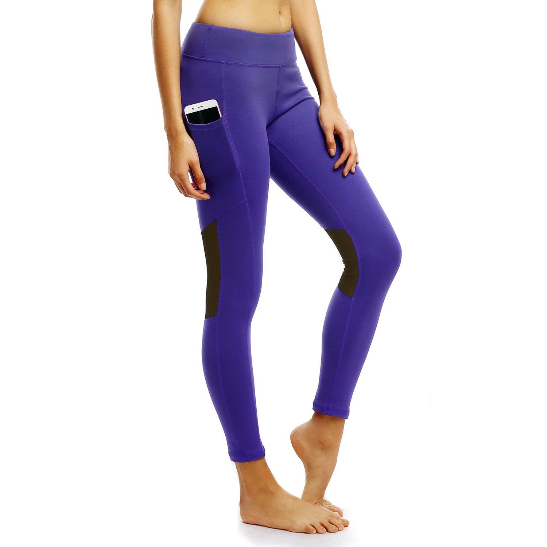 d71487a5e21fe Amazon.com: Persit Yoga Pants for Women with Pockets High Waisted Black  Capri Workout Leggings Athletic Gym Fabletics Soft Yoga Leggings - Blue -  M: Sports ...