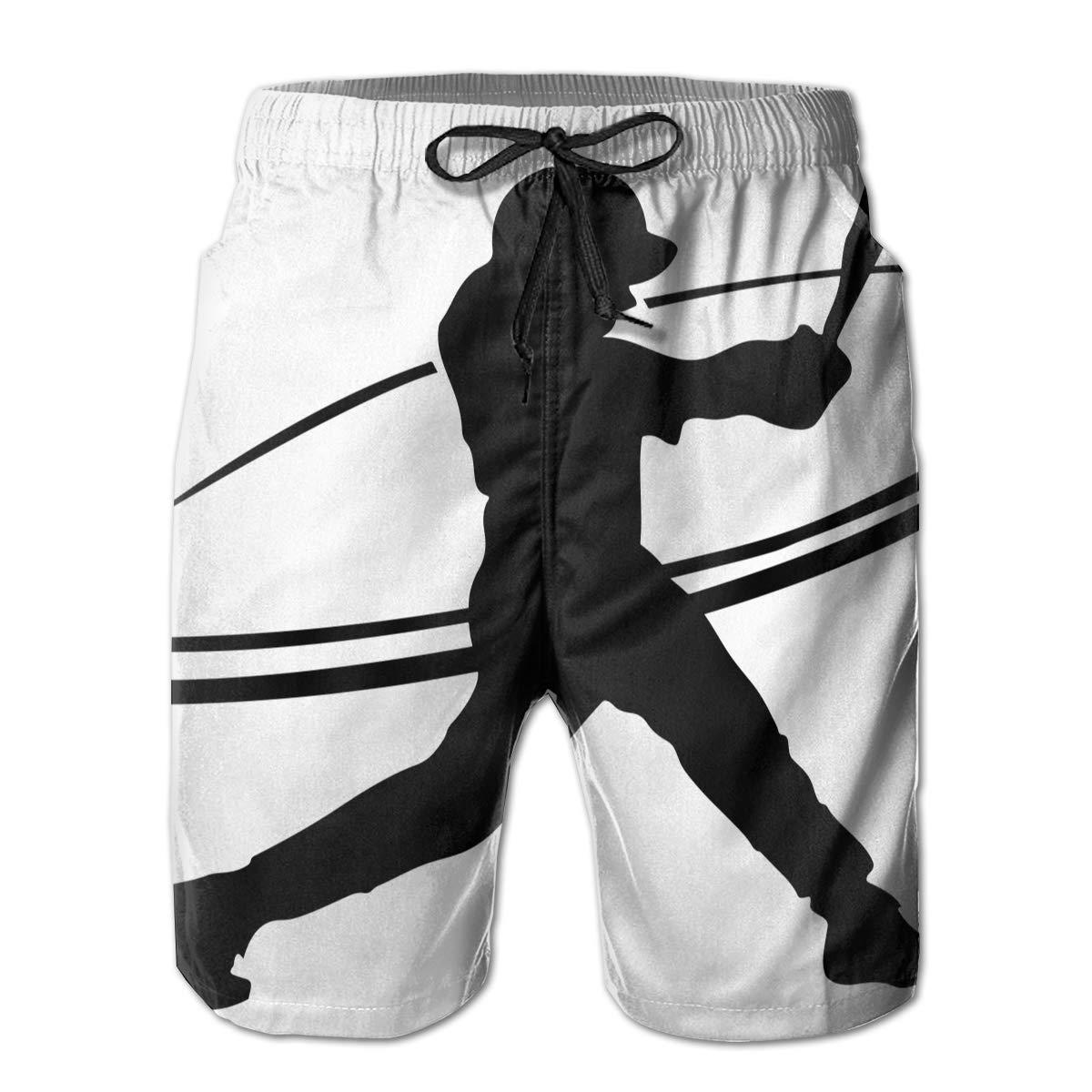 HZamora/_H Mens Softball Silhouette Summer Breathable Quick-Drying Swim Trunks Beach Shorts Cargo Shorts