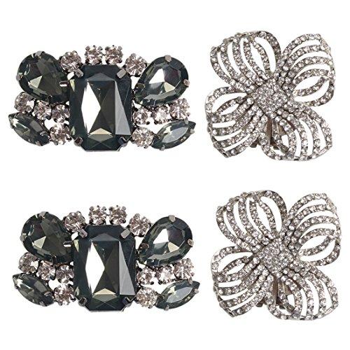 kilofly 2 Pairs Elegant Rhinestone Crystal Metal Shoe Clips Wedding Party Pack (Shoes Clip)