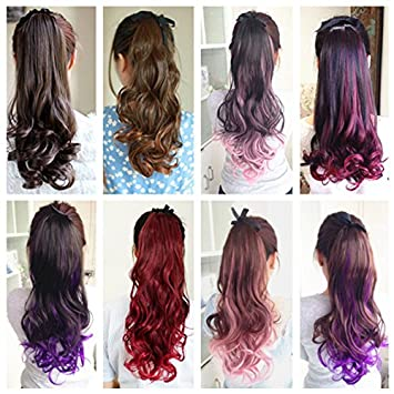 Amazon Com Cassicat Curly Wavy Highlights Ponytail Hair Extension