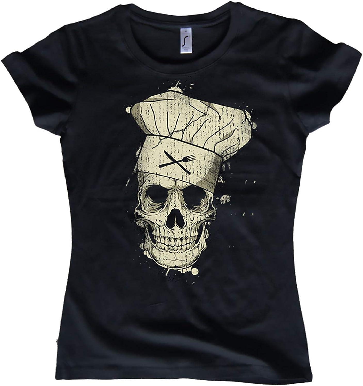 NG articlezz Camiseta de Mujer Cook Calavera Cocinera Calavera Oldschool Tallas S-XXL: Amazon.es: Ropa y accesorios