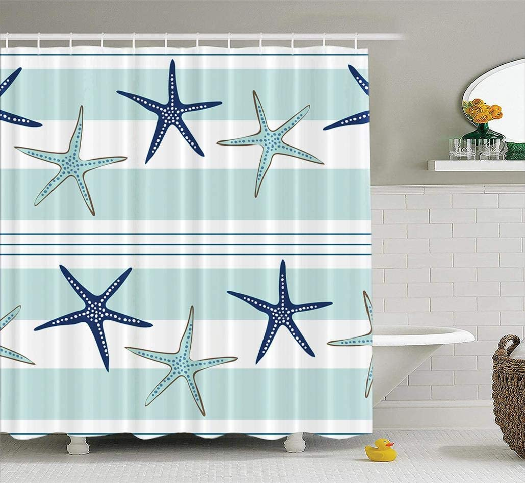 LALILO Sea Star - Beach Decorative small Curtain with 12 Hooks, Coastal who Repeat the Pattern Navy Blue Blue and No Chemical she, Durable Polyester Waterproof 72 W X 78 L
