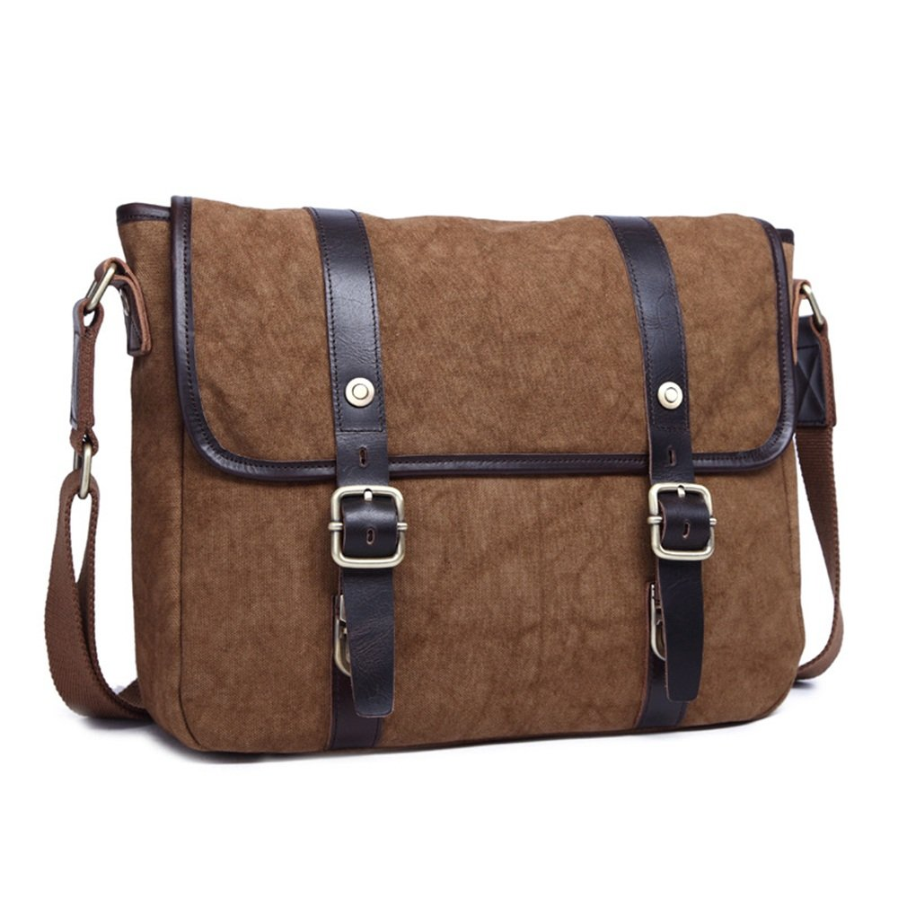 Business Men/'s Leather Briefcase Shoulder Messenger Vertical Satchel Casual Bag