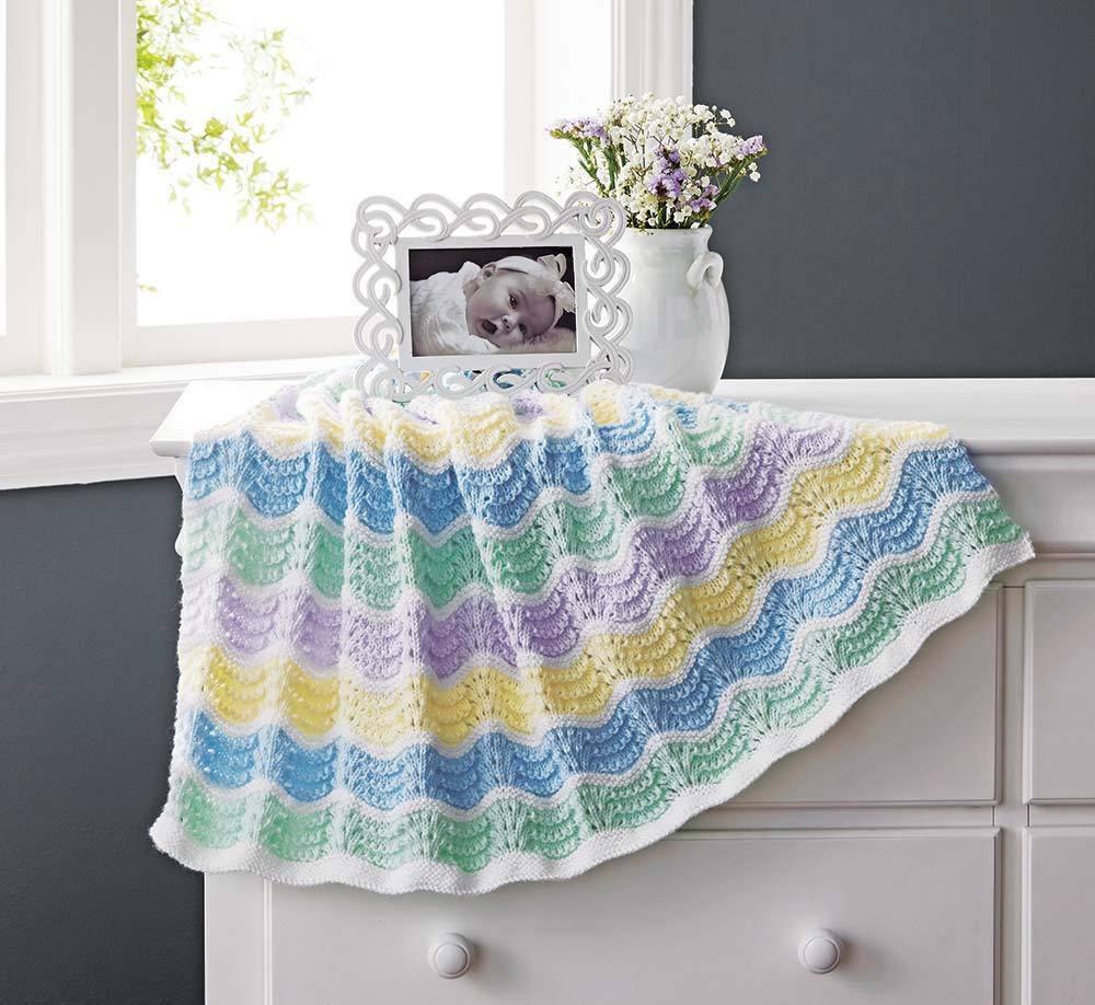 Sparkling Waves of Color Blanket - Blue Knit Kit