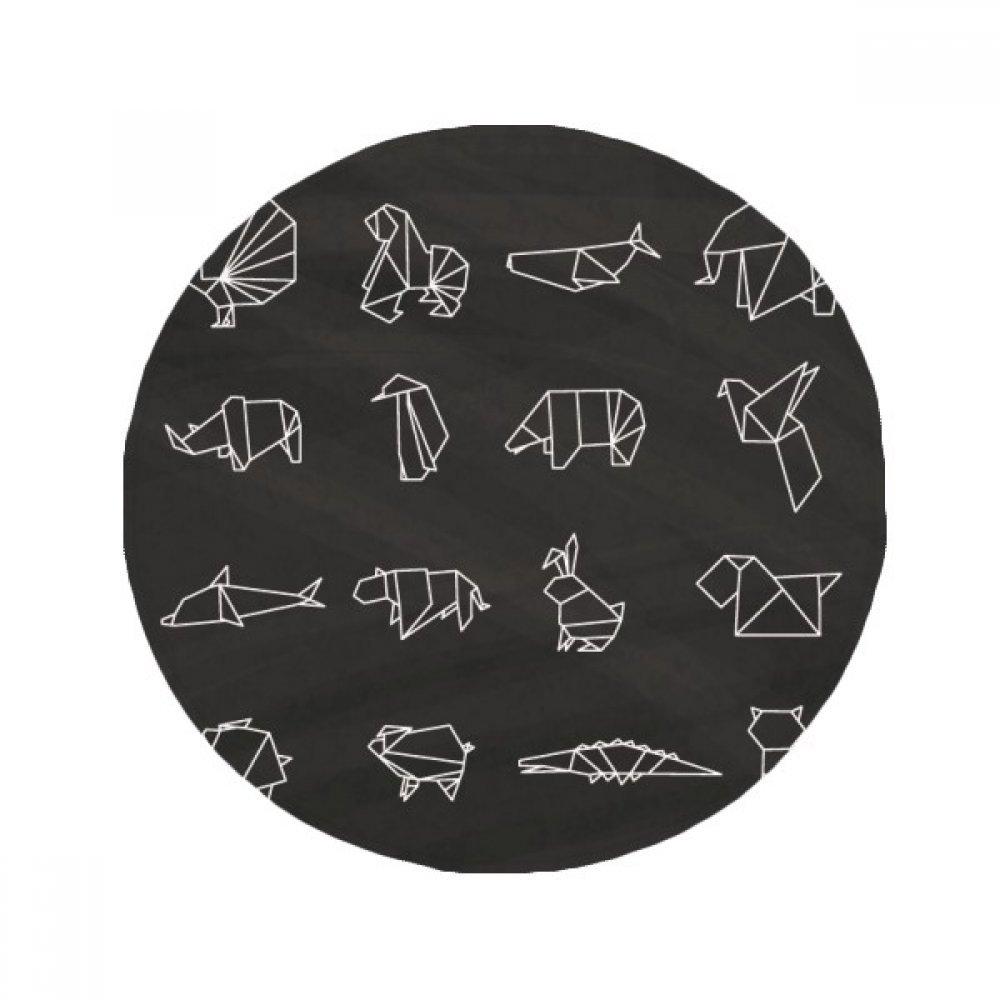 60X60cm DIYthinker Abstract Origami Animal Geometric Shape Anti-Slip Floor Pet Mat Round Bathroom Living Room Kitchen Door 60 50Cm Gift