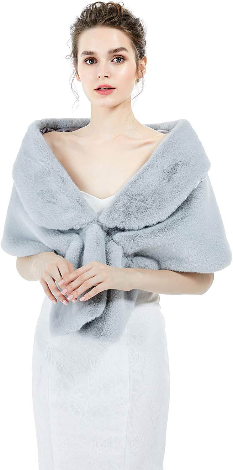 Faux Fur Shawl Wrap Stole...