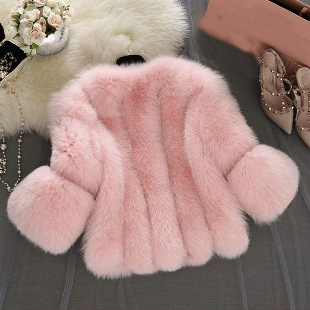 Fur Coats for Women F/_Gotal Womens Faux Fur Short Coat Jacket Parka Outwear and Coat Luxury Winter Warm Fluffy Ladies