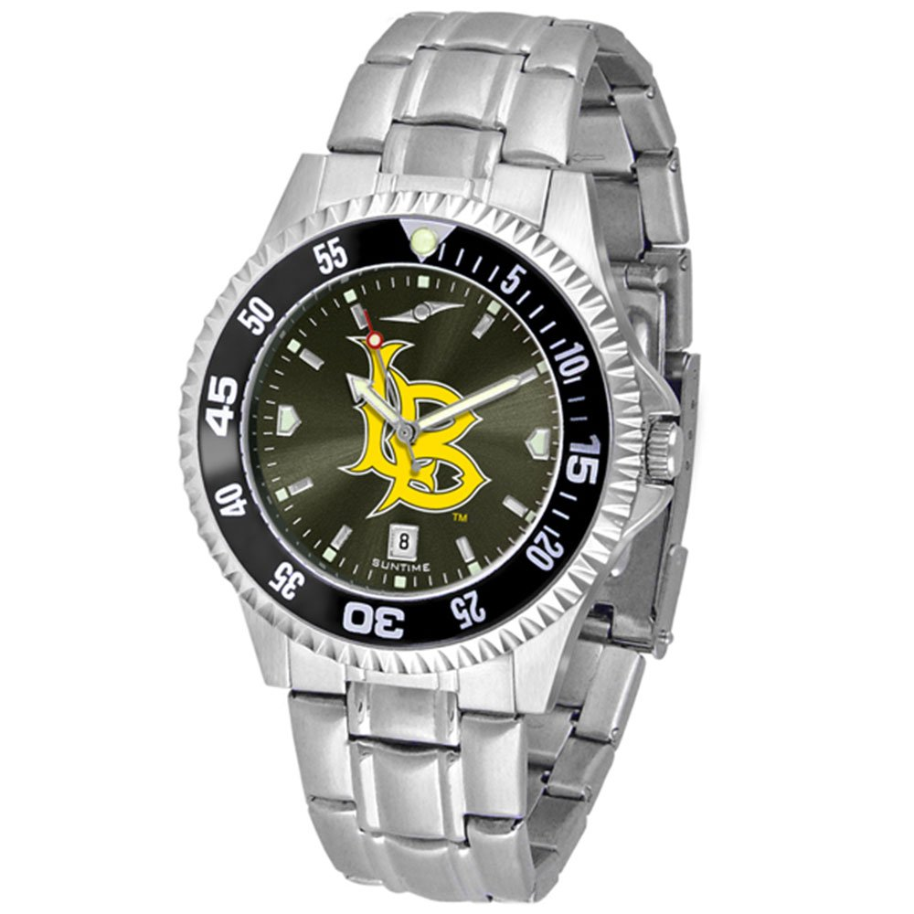 California State (Long Beach) Dirtbags Competitor AnoChrome Men's Watch with Steel Band and Colored Bezel by SunTime (Image #1)