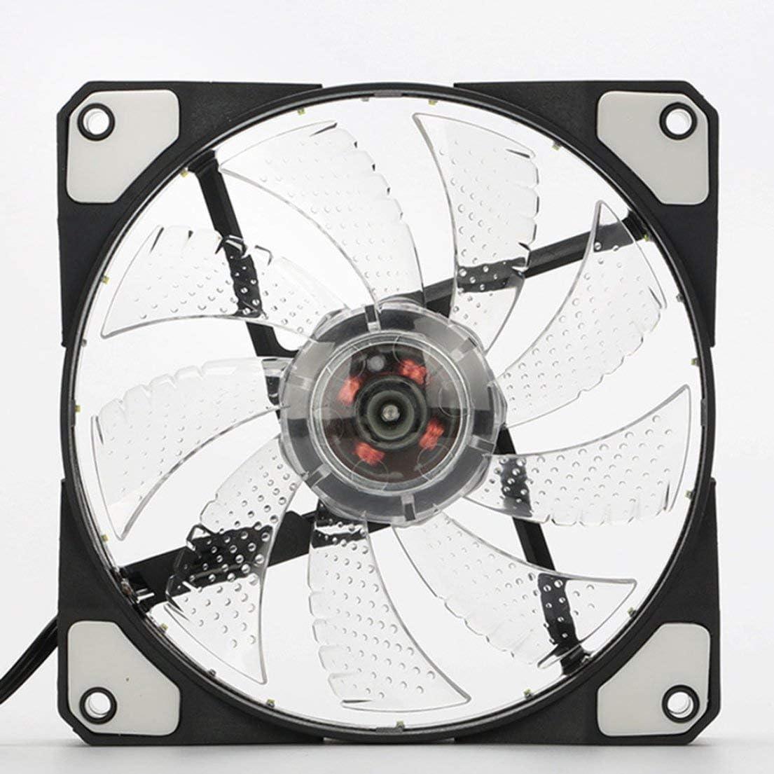 SKYYKS Ventilador de Caja de PC de computadora Ultra silenciosa LED de 120 mm 15 LED de 12V con Conector Molex silencioso de Goma Ventilador fácil de Instalar (Luz Blanca): Amazon.es: Electrónica