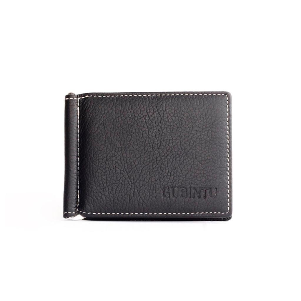 Voberry Men Leather Bifold Slim Wallet Credit ID Card Holder with Money Clip