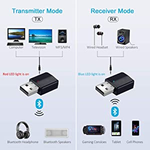 Janboo Bluetooth 5.0 Adapter for PC TV Car Stereo Sound System, Audio Transmitter Receiver 2-in-1, USB Bluetooth Aux Adapter 3.5mm,Turn a Non-Bluetoot Devices Into Bluetoot Devices, No Need to Drive (Color: black)