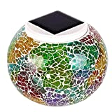YOTHG Mosaic Glass Solar Powered Colorful LED,Garden Light,Outdoor Rechargeable Waterproof Night Light (130x100mm,Colorful)