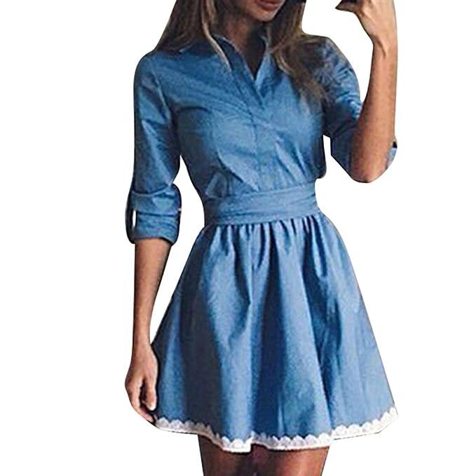 junkai Vestido de Denim para Mujer, Elegante Collar Abatible Casual Blusa Larga Elegante Color Sólido Tops Mini Vestido Ropa para Primavera Otoño Tallas ...