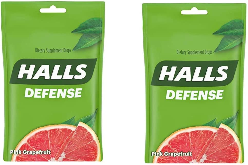 Halls Defense Pink Grapefruit Vitamin C Drops - with Immune Support - 30 Drops (Pack of 2) Total 60 Drops
