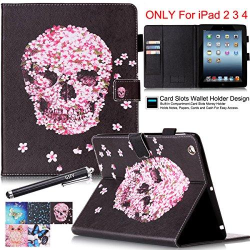 iPad 2/3/4 Case, Newshine Flip Colorful Leather Case Cover Built-in Sleep/Wake Feature with [Card Slots/Cash Pocket] [SD/SIM Card Holder] [Stylus Holder] for iPad 4 & iPad 3 & iPad 2 (5 Petal&Skull)
