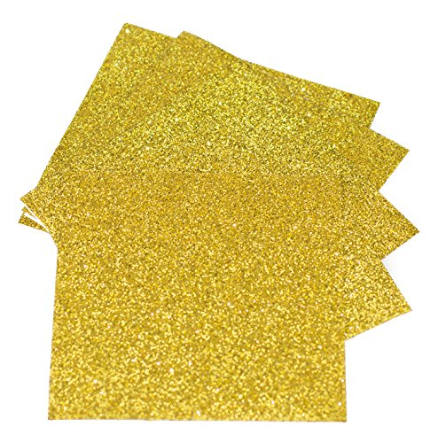 Expressions Vinyl - Gold - 9in. x 12in. 5-pack Siser Glitter Iron-on Heat Transfer Vinyl Sheets by Expressions Vinyl