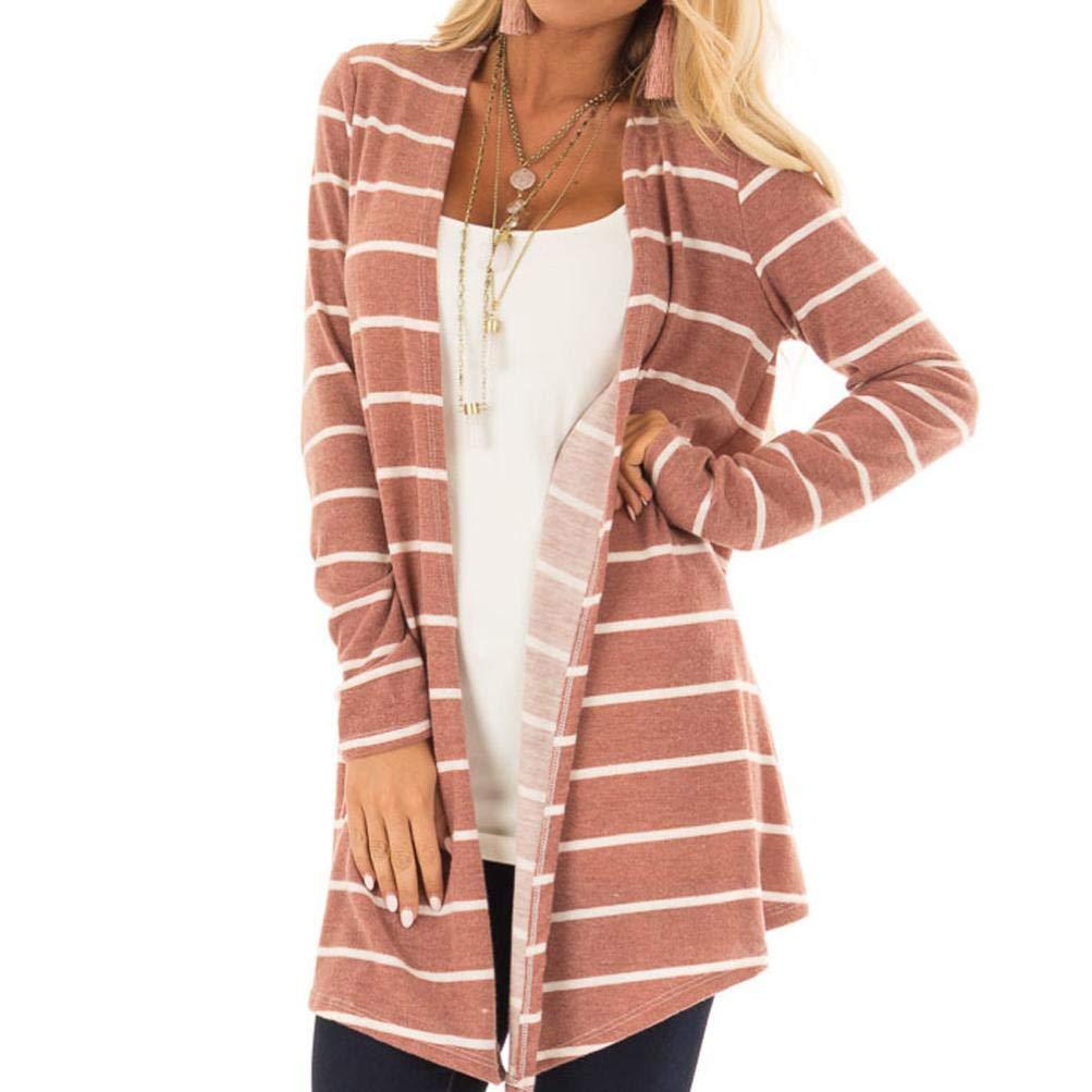 Women's Cardigan,Long Sleeve Stripe Print Fashion Long Coat Changeshopping Women's Cardigan Changeshopping Blouse change225