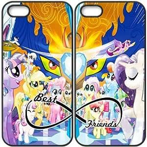 JiHuaiGu (TM) iPhone 5 5S funda Negro BFF Best Friends My Little Pony personalizado temático iPhone 5 5S funda GO5959