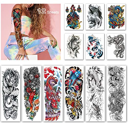 Leoars Full Sleeve Temporary Tattoos Dragon Fish Theme- Waterproof Fish Dragon Arm Tattoos Temporary and Extra Large Tattoo Sleeves for Men  and Women -12 Sheets -