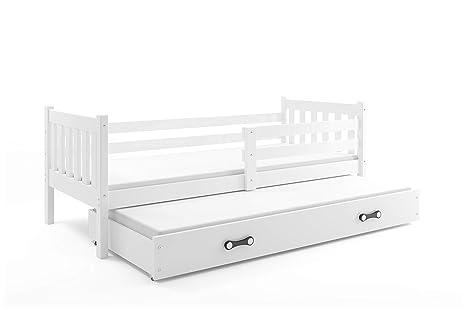 Letto doppio CARINO Bianco 190x90 per ragazzi, lettino estraibile, letto in  legno massello, cameretta bambini, materassi in spugna compresi nel ...