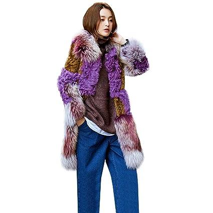 ef1b0c43b Abrigos Chaqueta de Piel para Mujer Chaqueta de Tendencia Media Larga Una  Capa de Piel Costura