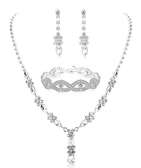 b58dd428e9d4 Milacolato Rhinestone Conjunto de Dama de Honor para Las Mujeres joyería  Nupcial Conjunto Collar Pendientes Pulsera Conjunto Regalos encajan con  Vestido de ...