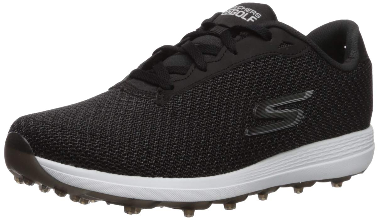 Skechers Women's Max Golf Shoe, Black/White Textile, 5.5 M US by Skechers