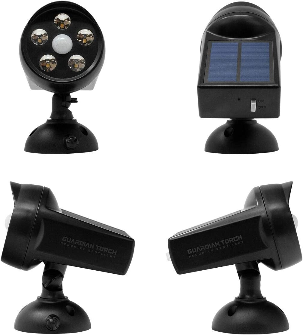 Guardian Torch – Home Security Spotlight 2 Pack Solar Powered Outdoor Light and Floodlight with Motion Sensor – 120 Motion Sensor, IP65 Water Resistant, 5 Bright LED Dusk to Dawn Technology