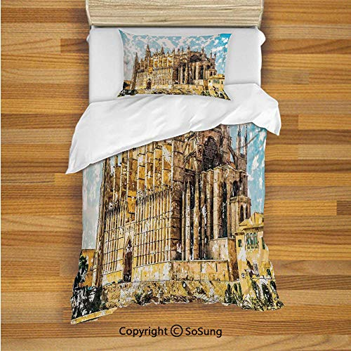 Gothic Decor Kids Duvet Cover Set Twin Size, Big Gothic Building Sea Shore Cathedral of Palma De Mallorca View from Road 2 Piece Bedding Set with 1 Pillow Sham,Cream Blue White