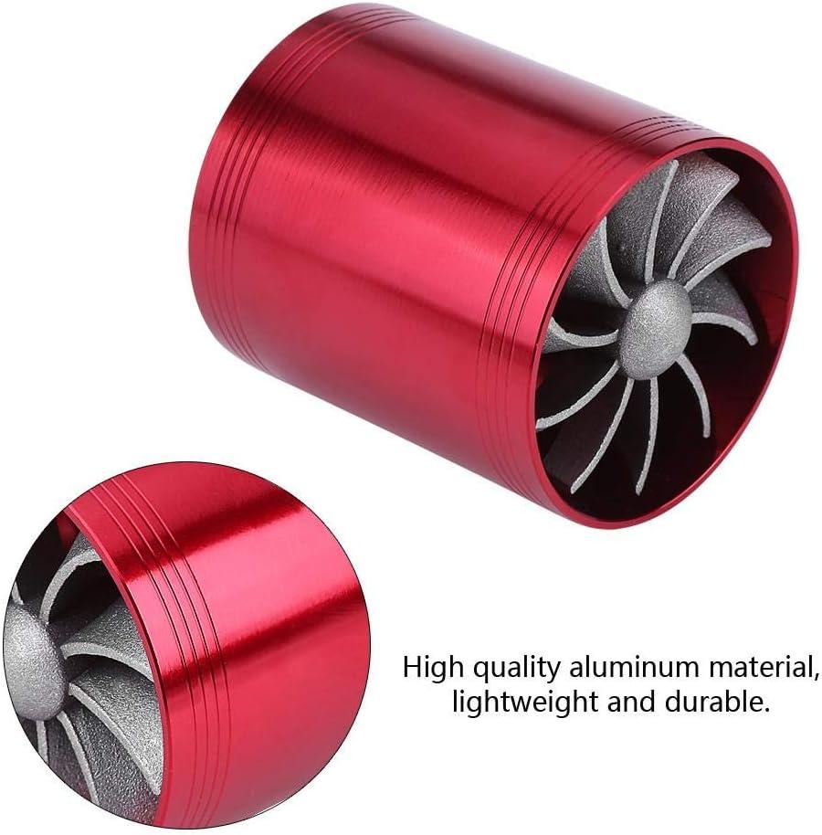 Qiilu Aluminium Auto Lufteinlass Turbonator Dual Fan Super Charger Gas Kraftstoff Saver Turbo Blau