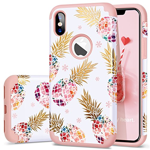 Fingic Pineapple Case Compatible with iPhone X/10 Case,iPhone XS (2018) Cover, Perfect Slim Fit Ultra Thin Protection Series Cute Shell Phone Case for Apple iPhone X/XS 5.8,Rose Gold
