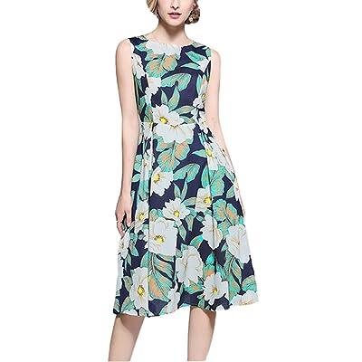 4URNEED Rundhals Aermellos Damen Sommer Blume Druck Kleid Partykleid Cocktailkleid Skaterkleid Knielang Grün