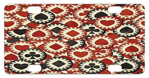 Casino Mini License Plate by Lunarable, Poker Chips Metropolitan Life Dollar Currency Symbols Wealth Winning Enjoy, High Gloss Aluminum Novelty Plate, 2.94 L x 5.88 W Inches, Redwood Black Cream