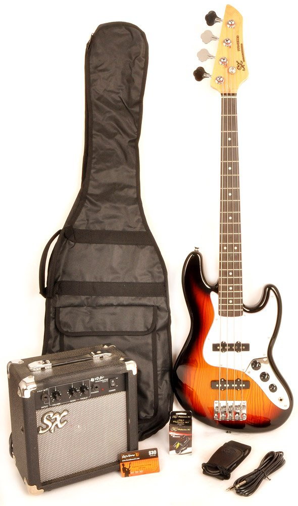 Ursa 2 JR RN PK 3TS Sunburst 3/4 Size Bass Guitar Package w/Carry Bag, Amp and On Line Instructional Video