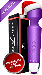 LuLu 7+ Programmable Personal Wand Massager with Memory - Premium with 5 Speeds 20 Patterns - Cordless Powerful and Handheld - USB Rechargeable for Back and Neck Relief - Purple