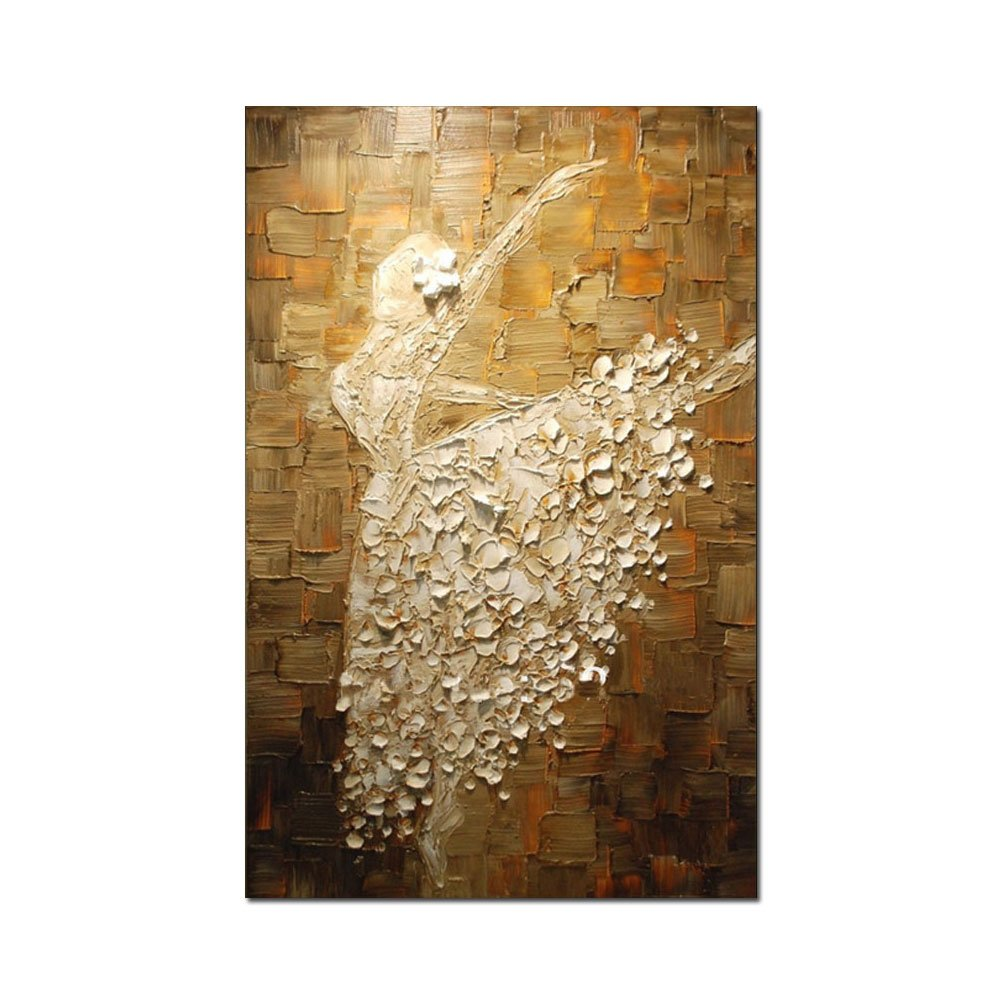 V-inspire Paintings, 24x40 Inch Hand Painting Ballerina Girl Abstract Art 3d Oil Painting Modern Art 100% Hand Painted Wall Decoration