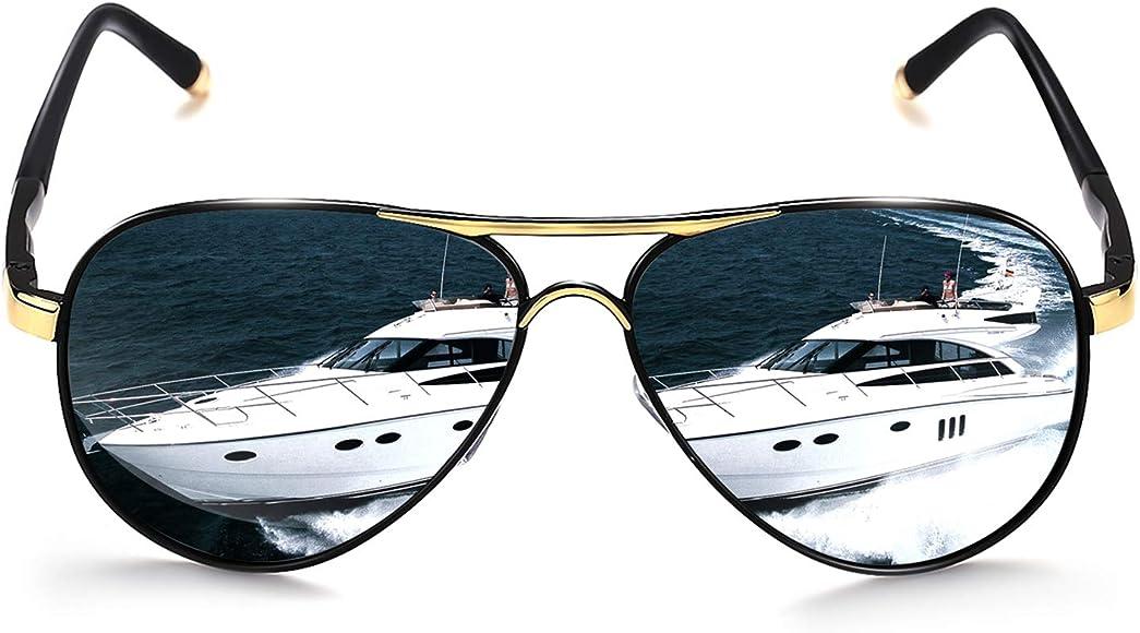 63f14f885 ROCKNIGHT Polarized Aviator Sunglasses for Men Women Metal Flat Top  Sunglasses lightweight Driving UV400 Outdoor 58mm
